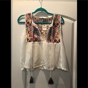 NWT free people embroidered tank top!